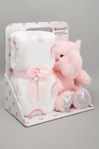 White/Pink Baby Blanket With Toy Elephant