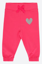 Load image into Gallery viewer, Pink Track Pant With Silver Glitter Heart