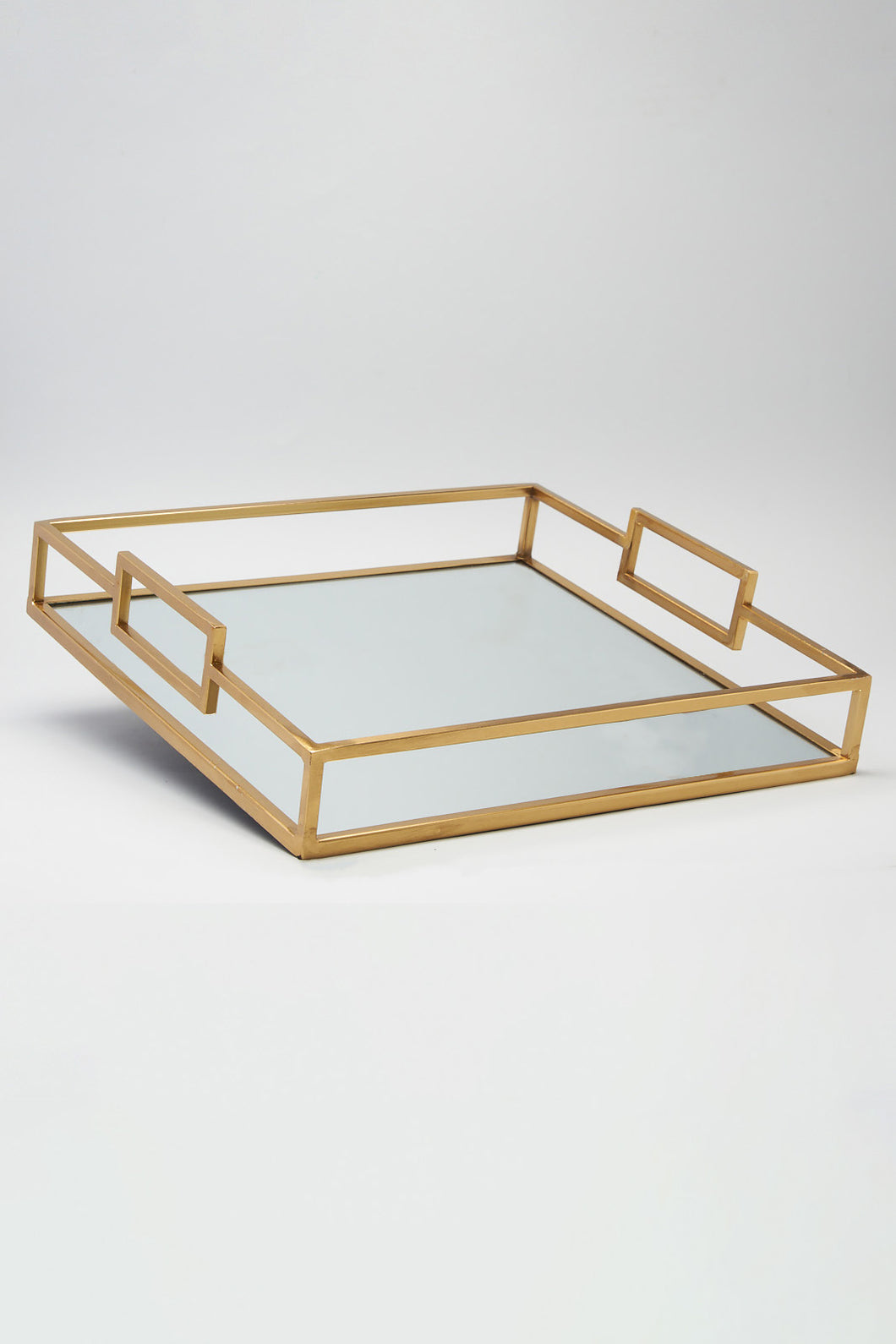 Gold Finish Square Mirror Tray