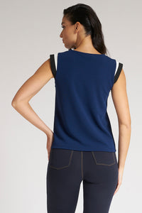 Navy Contrast Trim Cap Sleeve Top