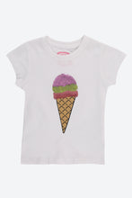 Load image into Gallery viewer, White Sequin Ice Cream T Shirt