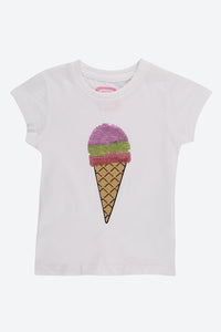 White Sequin Ice Cream T Shirt