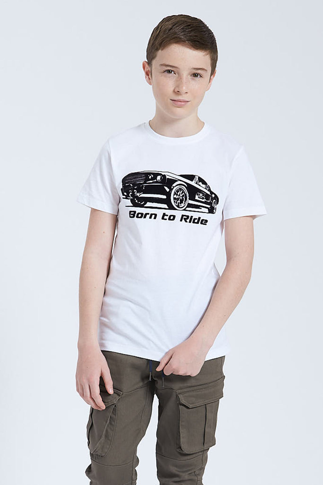 White Born To Ride Flock T-Shirt
