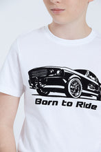 Load image into Gallery viewer, White Born To Ride Flock T-Shirt