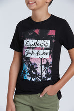 Load image into Gallery viewer, Black Endless Summer Print T-Shirt