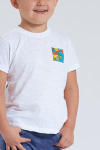 White Cute Monster Print T-Shirt