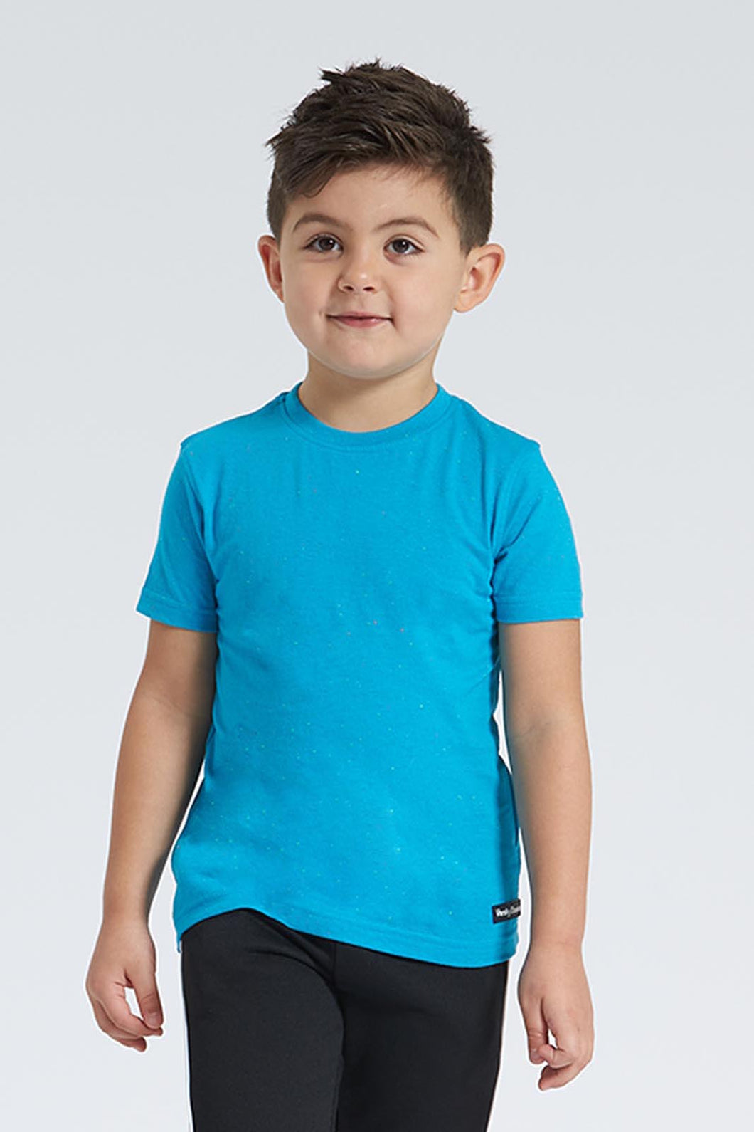 Blue Plain Neppy T-Shirt With Rubber Badge
