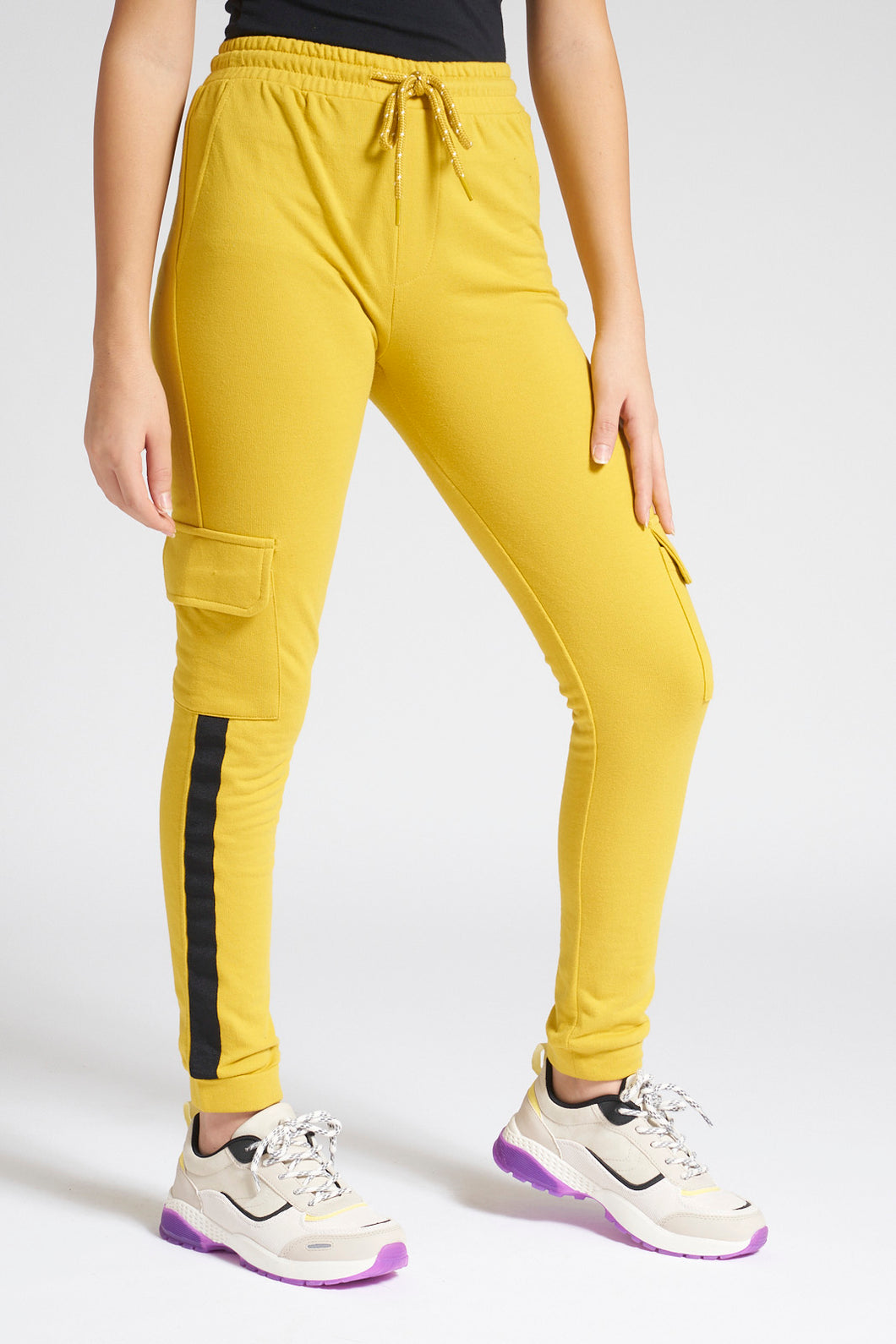 Yellow Cargo Pocket Track Pant