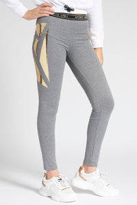Grey Yoga Pant with Shiny Detail