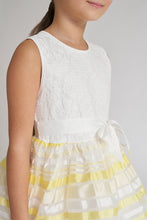 Load image into Gallery viewer, White/Yellow Stripe Dress With Ribbon Belt