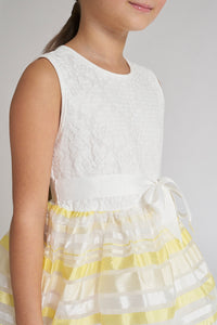 White/Yellow Stripe Dress With Ribbon Belt