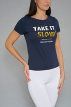 Load image into Gallery viewer, Navy Take It Slow Print T-Shirt