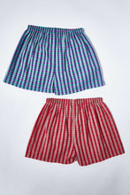 Load image into Gallery viewer, Red/Blue Woven Check Boxer Shorts (Pack of 2)