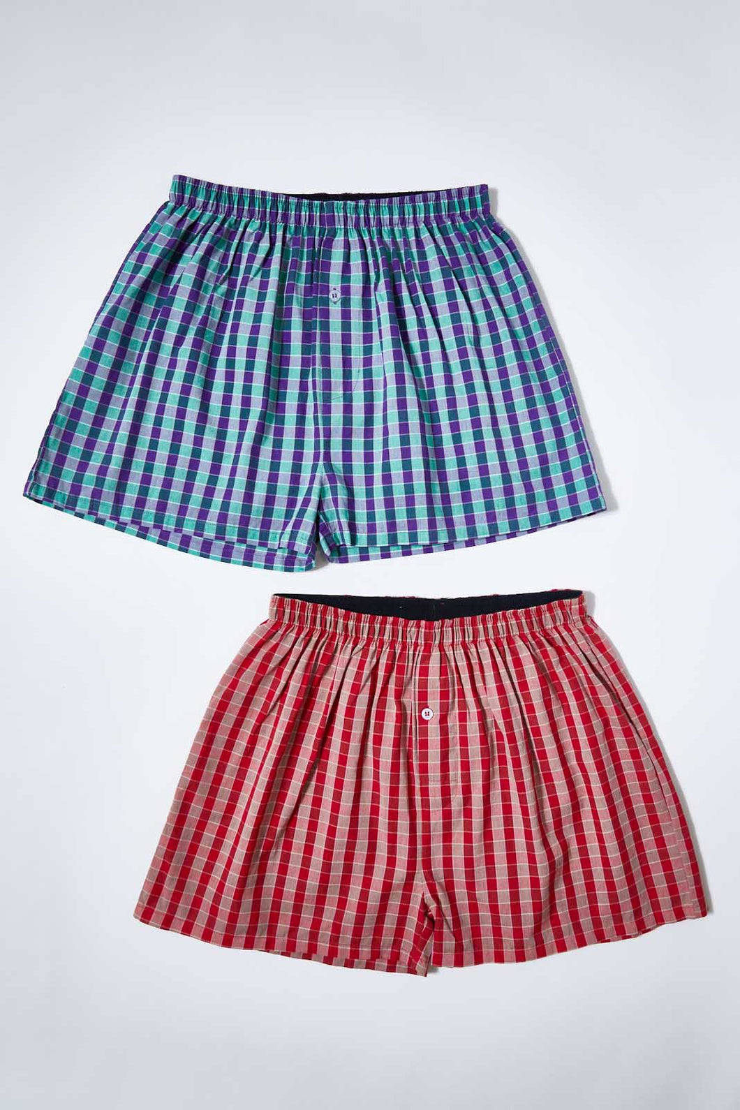 Red/Blue Woven Check Boxer Shorts (Pack of 2)