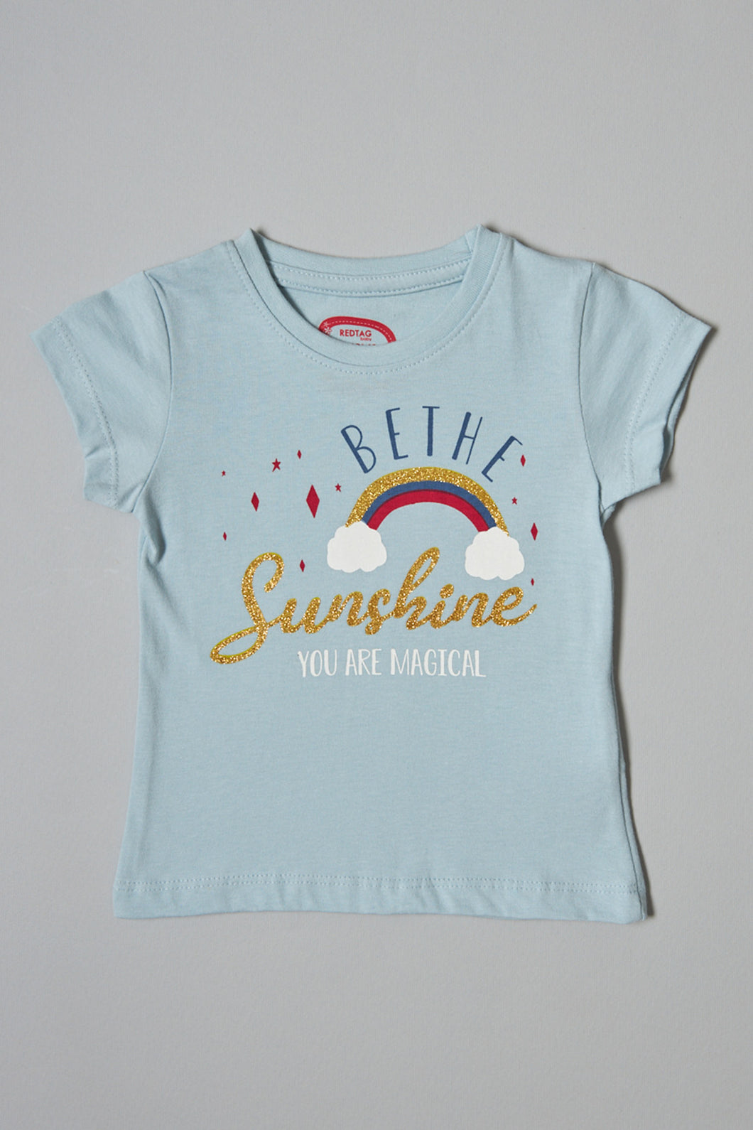 Blue Be The Sunshine Print T-Shirt