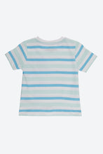 Load image into Gallery viewer, Blue Stripe Pocket T Shirt