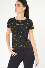 Load image into Gallery viewer, Black Allover Floral Print T-Shirt