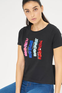 Black Abstract Sequins Embellished T-Shirt