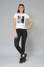 Load image into Gallery viewer, White Photographic Print + Sequins T-Shirt
