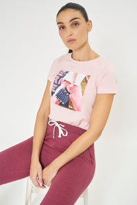 Pink Photographic Print T-Shirt With Stud Embellishment
