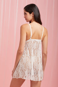 White Lace No-Padded Babydoll with Thong