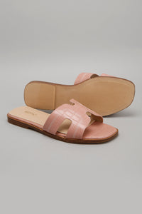 Pink Mule With Contrast Stitch Upper