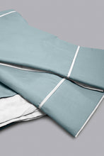 Load image into Gallery viewer, Teal/Ivory Reversible 3-Piece Duvet Cover Set (Double Size)