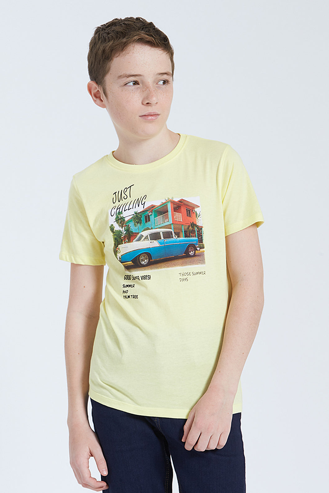 Yellow Just Chilling Print T-Shirt