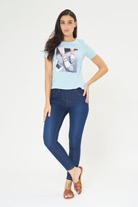Blue Photographic Print T-Shirt With Embellishment