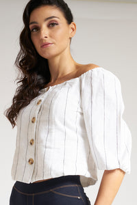 White Striped Bardot Top