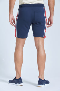 Navy New York Printed Panelled Short