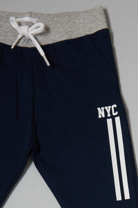 Grey And Navy Knit Track Pants (2-Pack)