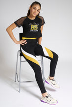 Load image into Gallery viewer, Black/Yellow Colourblocking Track Pant