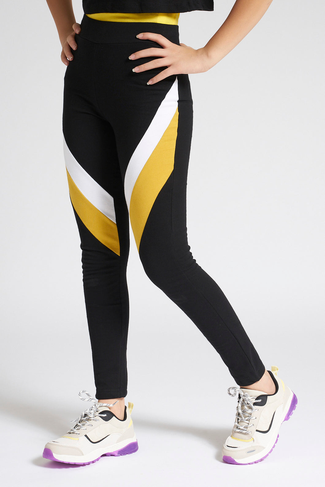 Black/Yellow Colourblocking Track Pant