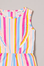 Load image into Gallery viewer, Fuschia Multicolour Stripe Playsuit