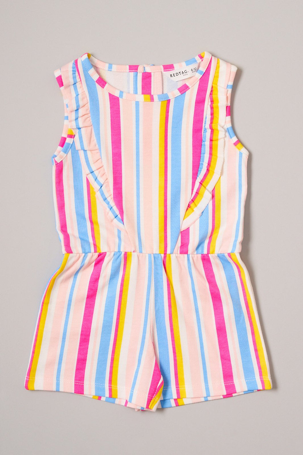 Fuschia Multicolour Stripe Playsuit