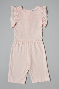 Pink Jumpsuit Lace On Front