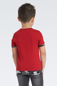 Red Beyond Embossed Print T-Shirt