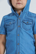 Load image into Gallery viewer, Light Wash Denim Shirt With Hood