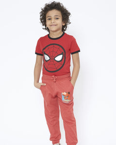 Red Spiderman Print Jogger