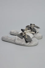 Load image into Gallery viewer, Grey Slipper With Bow Trim