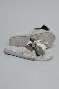 Grey Slipper With Bow Trim
