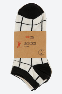 White/Black Jacquard Ankle Socks (3-Pack)