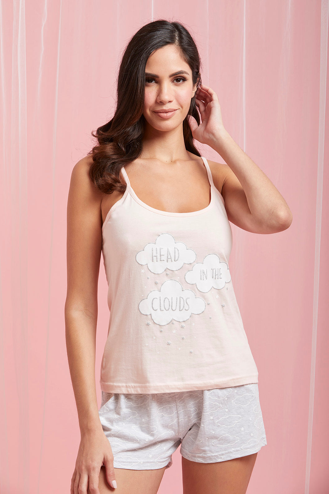 Peach Printed Cami And Shorts Set
