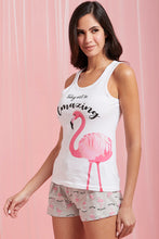 Load image into Gallery viewer, White Flamingo Print Vest And Shorts Set
