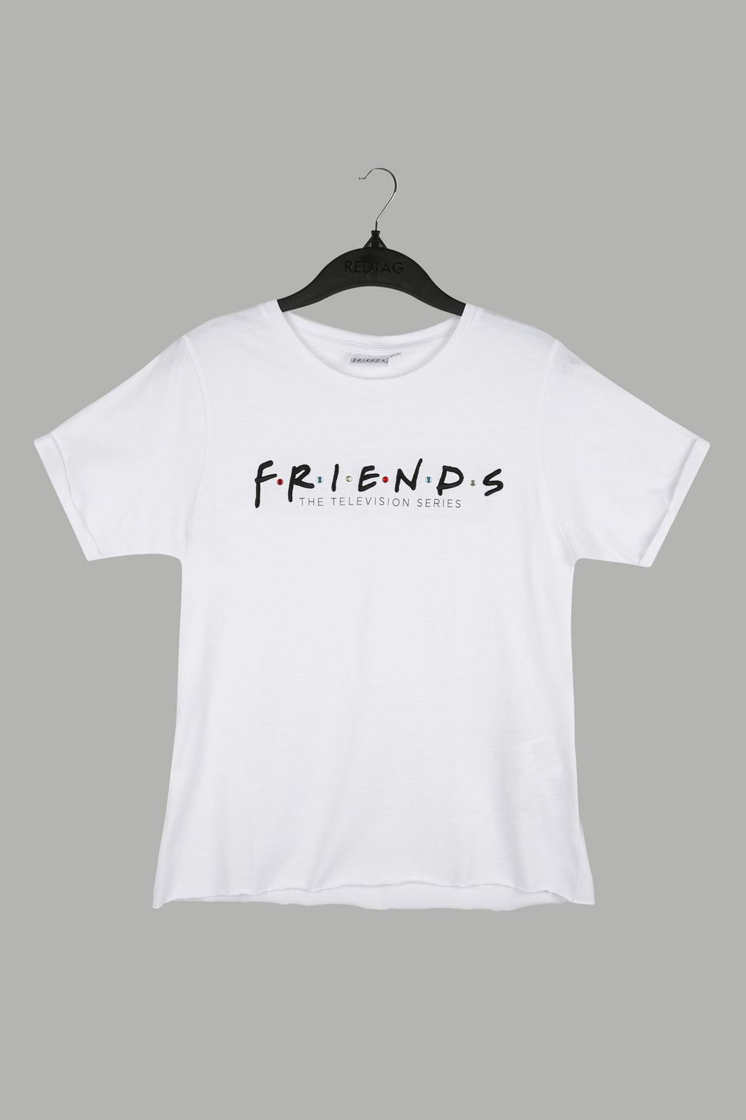 White Friends Embroidered T-Shirt