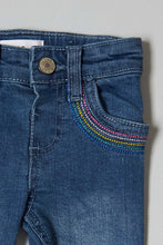 Load image into Gallery viewer, Dark Wash Embroidered Jean