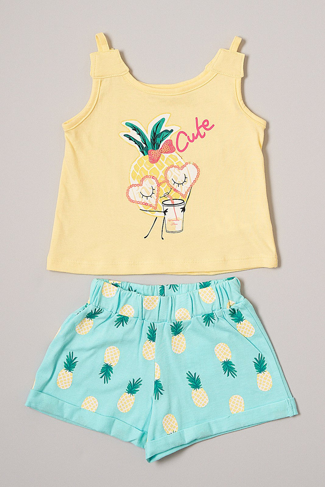 Yellow and Blue Pineapple Short Set