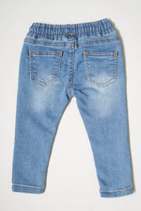 Light Wash Pull On Knitted Jean