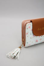 Load image into Gallery viewer, White Floral Purse With Tassel Trim